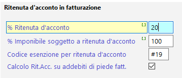 Parametri ritenuta d'acconto